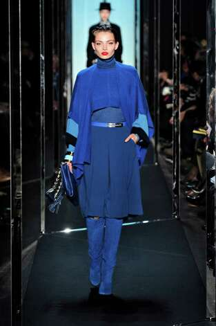Diane Von Furstenberg bright cobalt blue layered look from her fall 2011-12 collection. Trend: rainbow brights for fall Photo: Diane Von Furstenberg