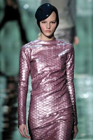 A long-sleeved shimmery pallette dress from Marc Jacobs' Ready to Wear Fall Winter 2011-12 collection. Trend: shimmer. Photo: Marc Jacobs
