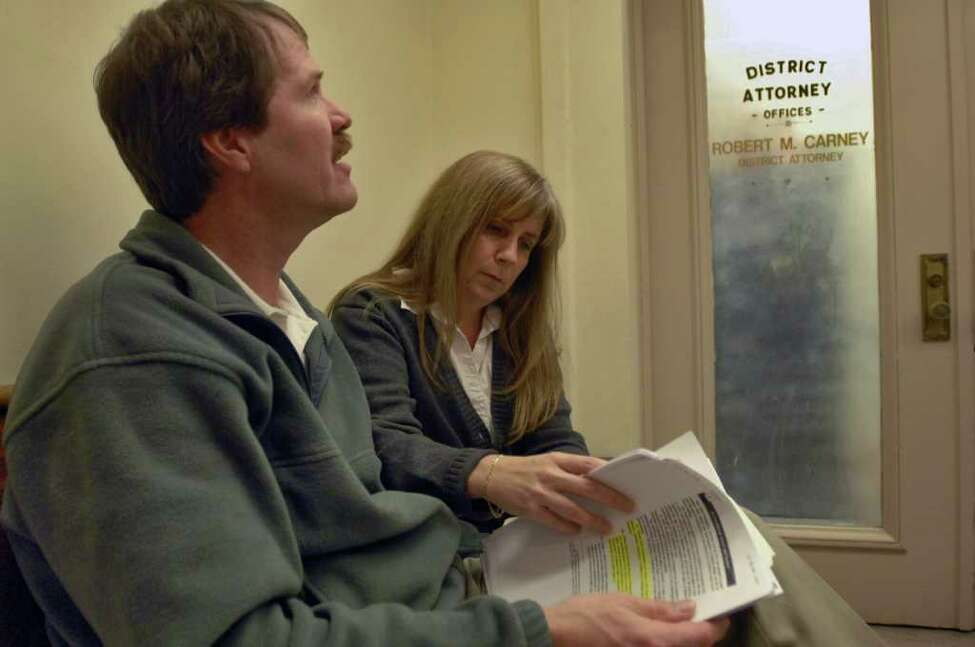 Michael and Lisa Carey wait outside of the Schenectady County District Attorney's office in 2007. Their son Jonathan died while under the care of state workers earlier that year. (Times Union Staff Photograph by Philip Kamrass)