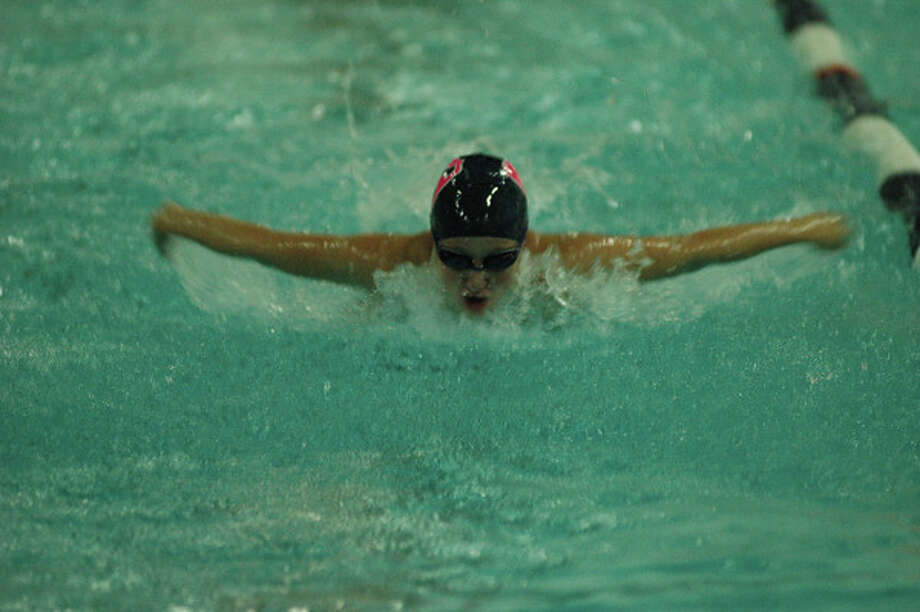Gabby LeBlanc accelerates to victory for Staples Wednesday in the 100-meter breaststroke against Norwalk. LeBlanc was one of only two Lady Wreckers to win their event in a 102-83 loss to Norwalk. Photo: Ron Wimer / Contributed Photo