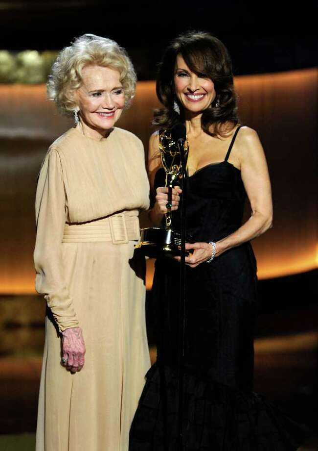 LAS VEGAS - JUNE 27: Actress Agnes Nixon (L) accepts the Lifetime Achievement Award from actress Susan Lucci onstage at the 37th Annual Daytime Entertainment Emmy Awards held at the Las Vegas Hilton on June 27, 2010 in Las Vegas, Nevada.  (Photo by Ethan Miller/Getty Images) *** Local Caption *** Agnes Nixon;Susan Lucci Photo: Ethan Miller / 2010 Getty Images