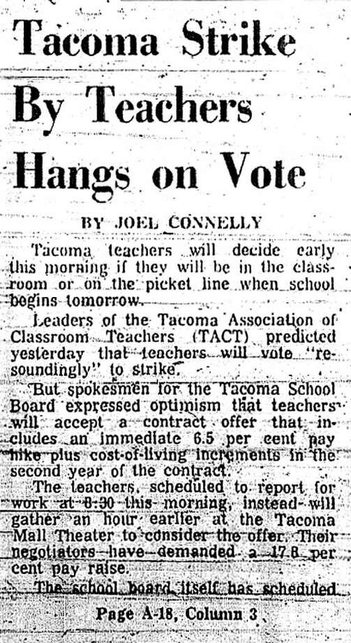 Initial coverage of the Sept. 1974 Tacoma teachers strike. Photo: Seattlepi.com File