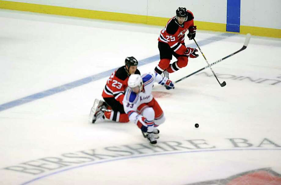 Berkshire Bank is misspelled on center ice at an NHL exhibition game between the New Jersey Devils and the New York Rangers at the Times Union Center in Albany, N.Y. Wednesday, Sept. 21, 2011. (Lori Van Buren / Times Union) Photo: Lori Van Buren / 00014719A