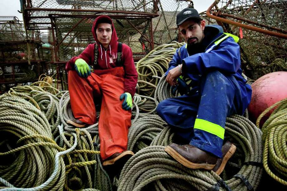 Cornelia Marie deckhands and brothers Jake and Josh Harris, seen here in an image from season six of Discovery Channel's 'Deadliest Catch,' are expected to meet and greet visitors to the 36th annual Norwalk Boat Show, which runs Thursday, Sept. 22, to Sunday, Sept. 25. Rick Gershon/Reportage by Getty Images Photo: Contributed Photo / Stamford Advocate Contributed