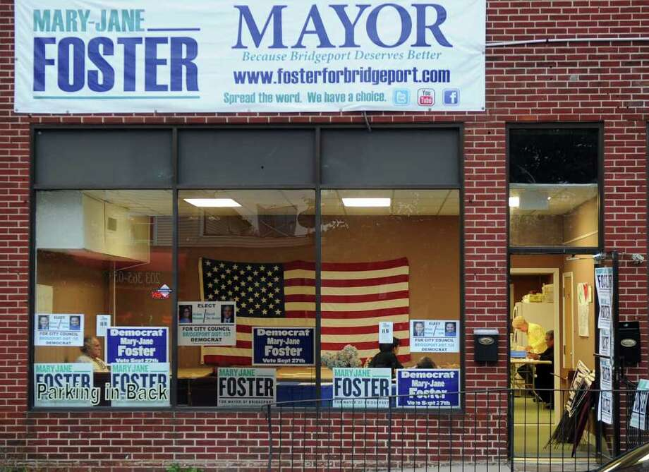 A view of Mary-Jane Foster's Campaign Headquarters along Main Street in Bridgeport, Conn. on Wednesday September 21, 2011. Photo: Christian Abraham / Connecticut Post