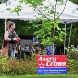 """Movie hair stylist Gregory Purcell of NYC, before a movie prop campaign sign on the set of """"The Place Beyond the Pines,"""" on Wendell Ave. in Schenectady Thursday Sept. 22, 2011.   (John Carl D'Annibale / Times Union)"""