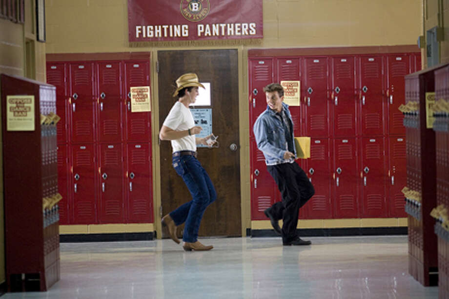"(L-R) Miles Teller as Willard and Kenny Wormald as Ren MacCormack in ""Footloose."""