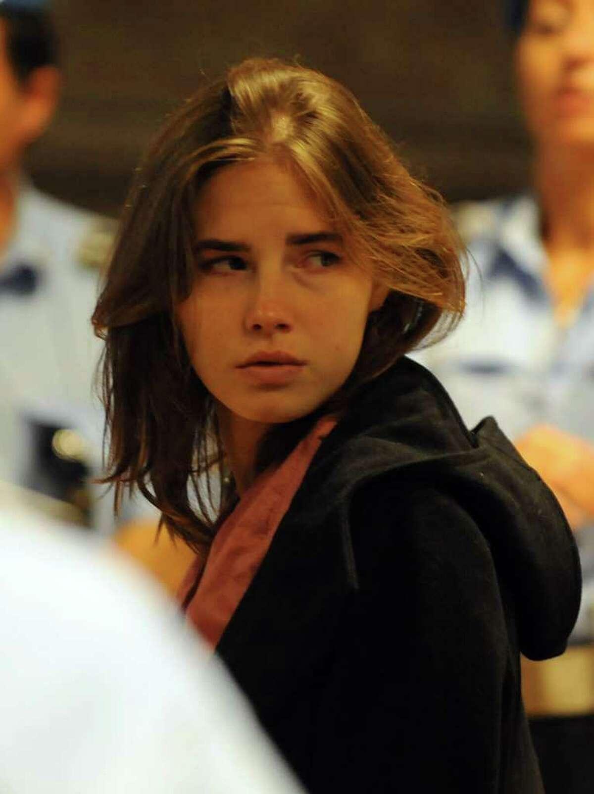 Amanda Knox is seen in court on Friday. AFP PHOTO/MARIO LAPORTA