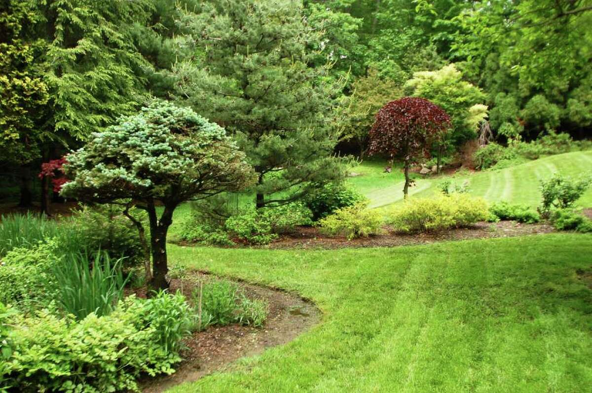 The fenced-in backyard offers a series of private formal and informal garden spaces for quiet reflection.