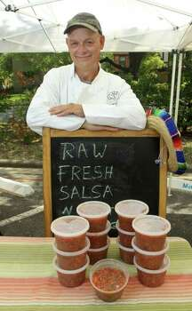 Joe Steelhammer of JS Desserts at the Rice University farmers market with his salsa. Photo: Gary Fountain / Copyright 2011 Gary Fountain Telephone:  281-531-0260