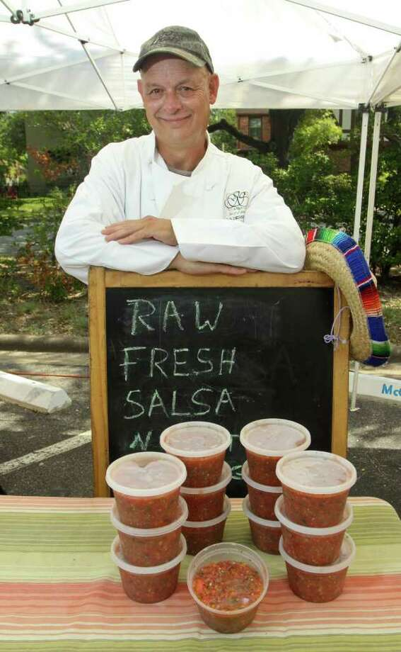 Joe Steelhammer of JS Desserts, at the Rice University Farmers Market with his salsa. Photo: Gary Fountain / Copyright 2011 Gary Fountain Telephone:  281-531-0260