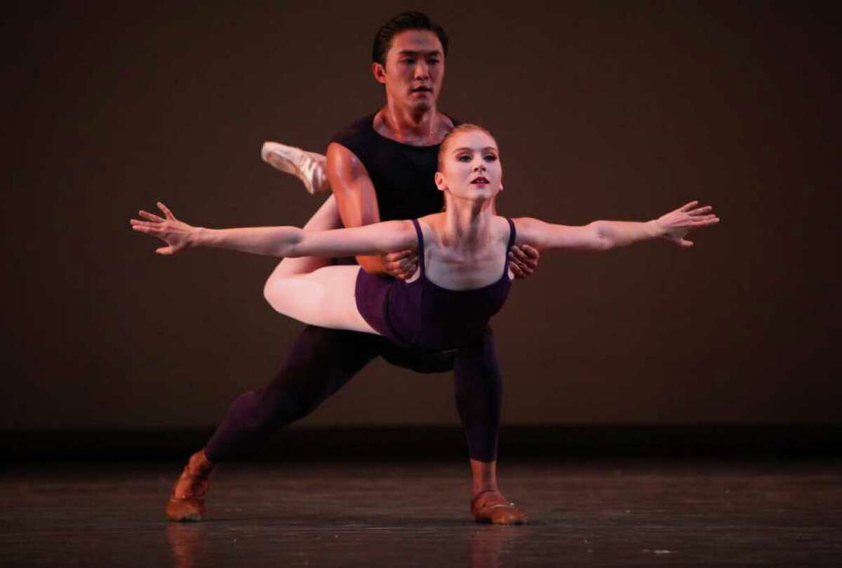 Batkhurel Bold and Carla Körbes perform Polyphonia during a dress rehearsal for Pacific Northwest Ballet's All Wheeldon season opener.