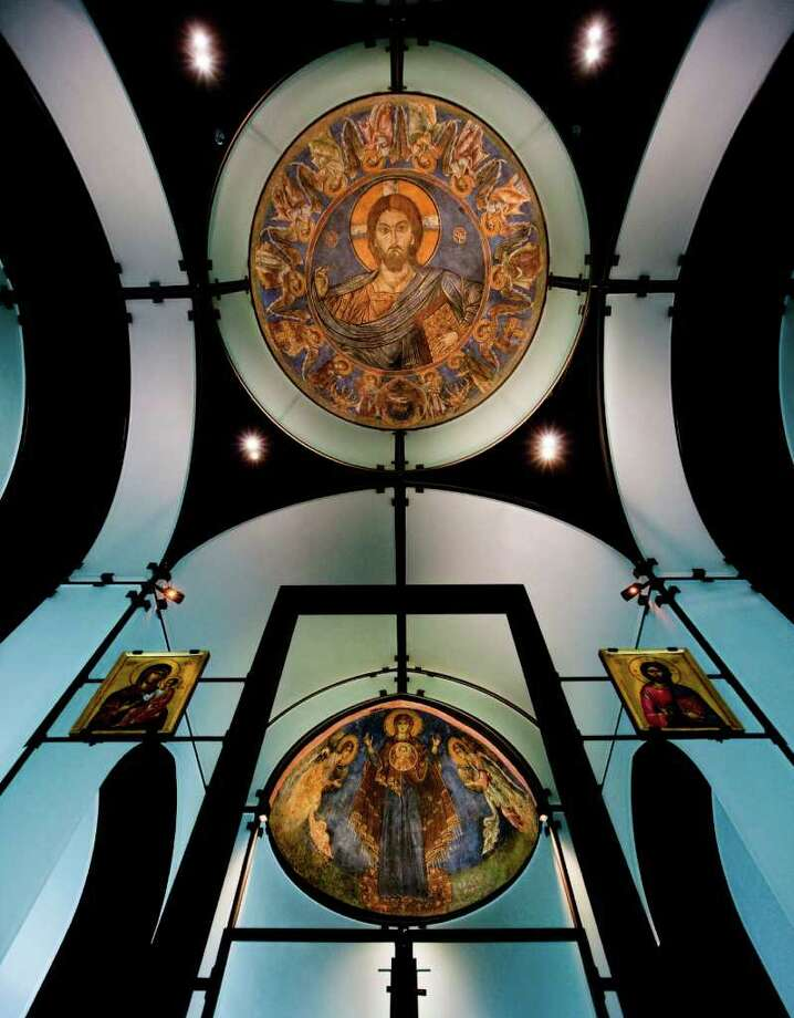 A view of the Byzantine Fresco Chapel's dome and apse frescoes. Photo: TxDoT