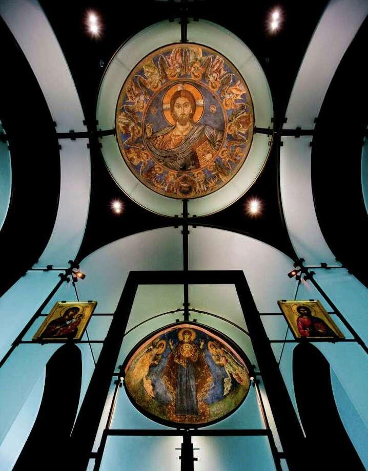 A view of the Byzantine Fresco Chapel's dome and apse frescoes. Photo: TxDoT