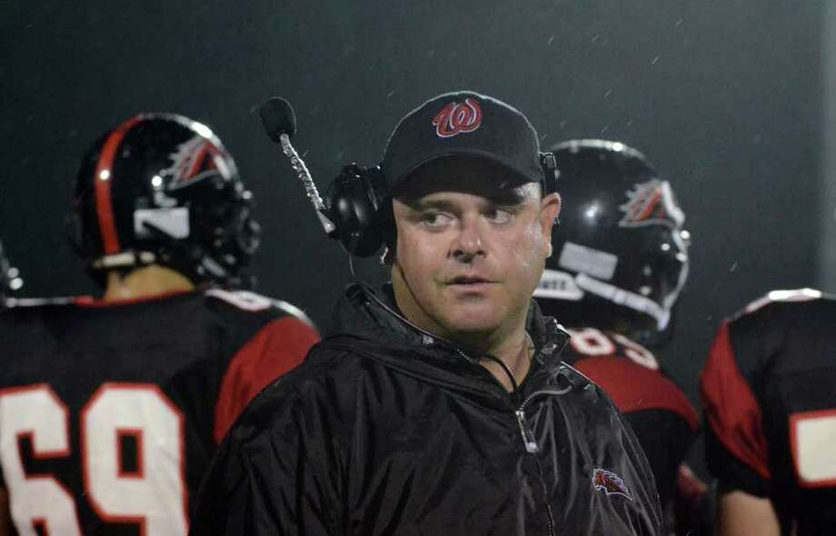 Fairfield Warde head football coach Duncan DellaVolpe during the football game against Darien at Fairfield Warde High School on Friday, Sept. 23, 2011. Photo: Amy Mortensen / Connecticut Post Freelance