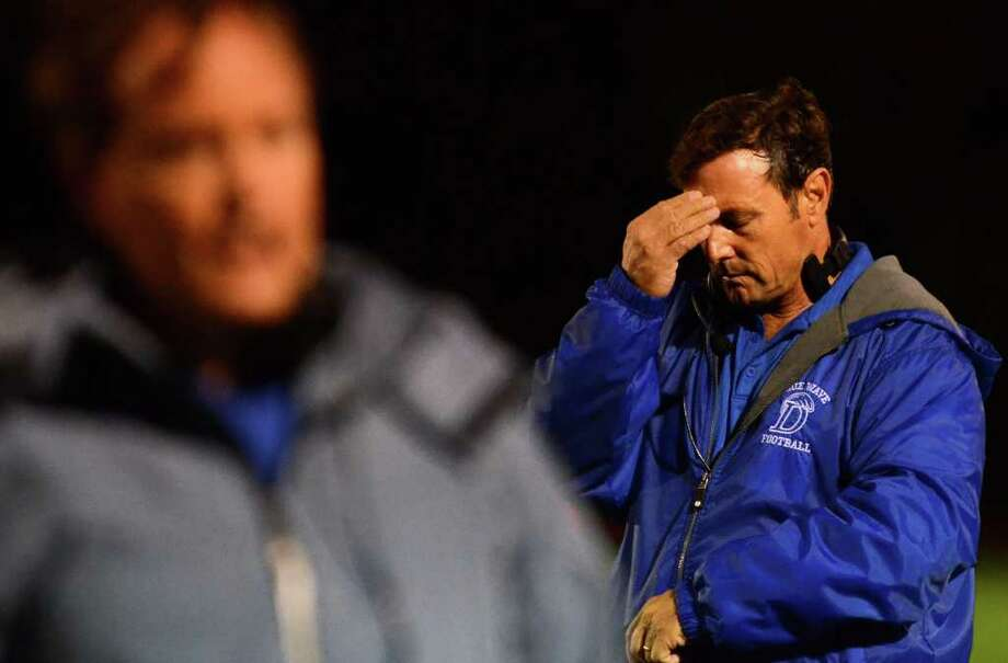 Darien head football coach Rob Trifone during the football game against Fairfield Warde at Fairfield Warde High School on Friday, Sept. 23, 2011. Photo: Amy Mortensen / Connecticut Post Freelance