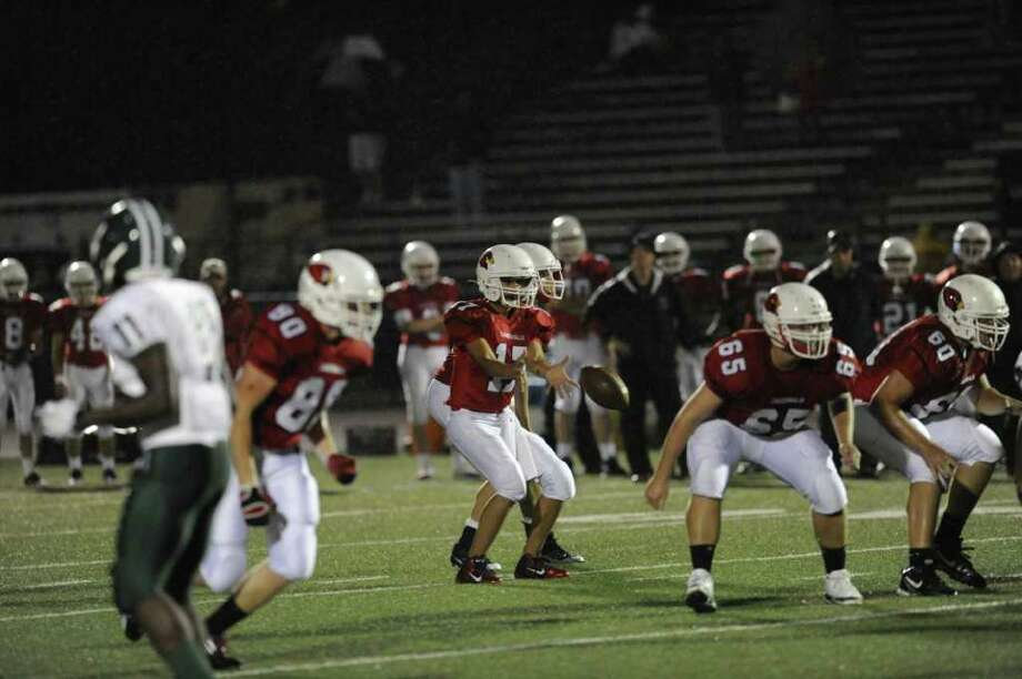 Football game between Bassick High School of Bridgeport and Greenwich High School at Greenwich, Friday night, Sept. 23, 2011. Photo: Bob Luckey, Greenwich Time / Greenwich Time
