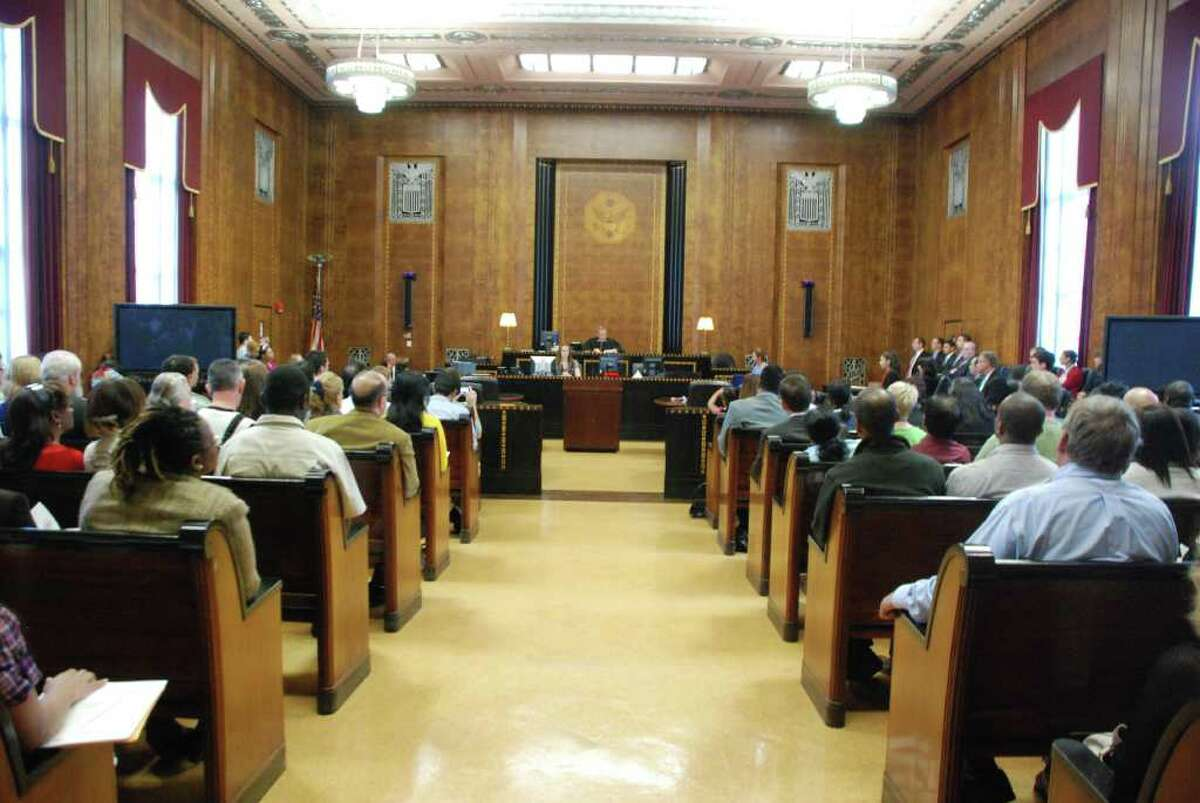The courtroom in the U.S. District Court House in Albany.
