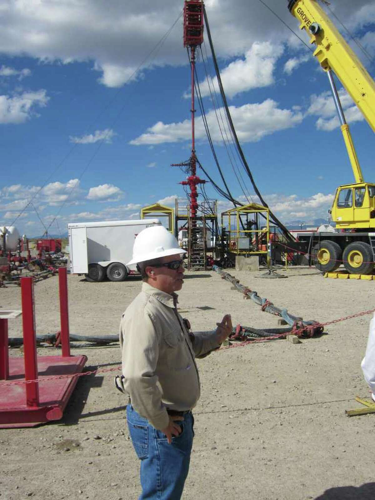 Rob Wheeler, completions superintendent of Shell's Rockies region, oversees a hydraulic fracturing job at a natural gas well outside Pinedale, Wyo.