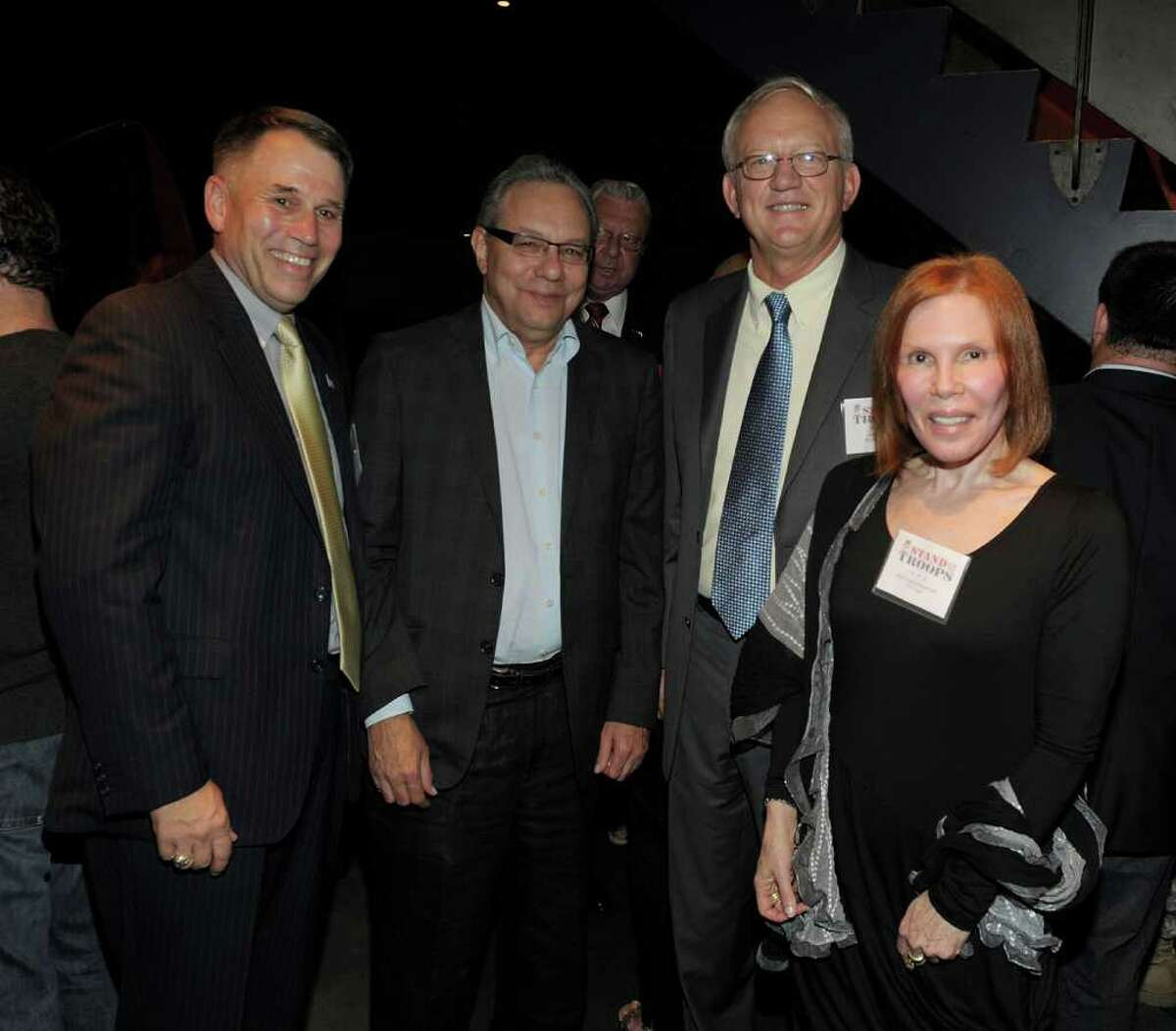 Left to right, Maj. Gen. John Batiste, comedian Lewis Black, Gen. Robert Mixum and Eilhys England attend the Stand Up For The Troops benefit at Carolines On Broadway in New York City Sept. 12, 2011. (Photo by Denise Truscello/WireImage)
