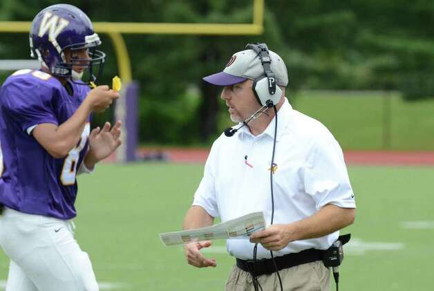Westhill's head football coach Dick Cerone during the football game against Trumbull at Westhill High School in Stamford on Saturday, Sept. 24, 2011. Photo: Amy Mortensen / Connecticut Post Freelance