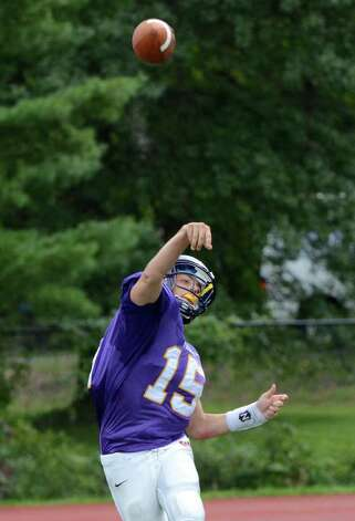 Westhill's Peter Cernansky throws a pass during the Westhill vs Trumbull football game at Westhill High School in Stamford on Saturday, Sept. 24, 2011. Photo: Amy Mortensen / Connecticut Post Freelance