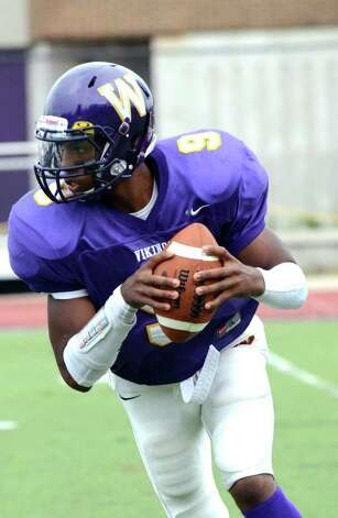 Westhill's RJ Cooper during the football game against Trumbull at Westhill High School in Stamford on Saturday, Sept. 24, 2011. Photo: Amy Mortensen / Connecticut Post Freelance