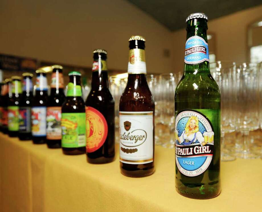 Specialty beers, including St. Pauli Girl lager, were available during the third annual Greenwich United Way Oktoberfest at the Boys & Girls Club of Greenwich, Saturday night, Sept. 24, 2011. Photo: Bob Luckey / Greenwich Time