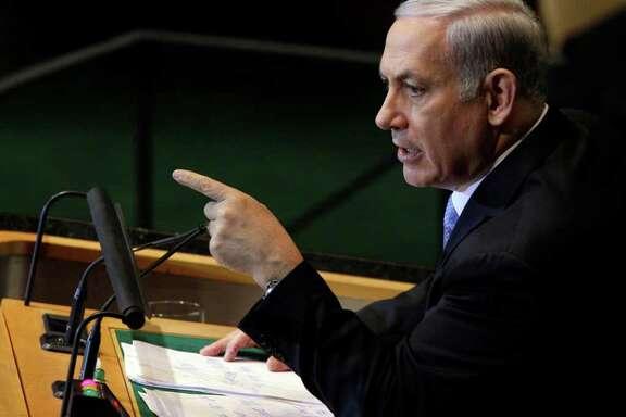 Israeli Prime Minister Benjamin Netanyahu addresses the 66th United Nations General Assembly at U.N. headquarters, Friday, Sept. 23, 2011. (AP Photo/David Karp)