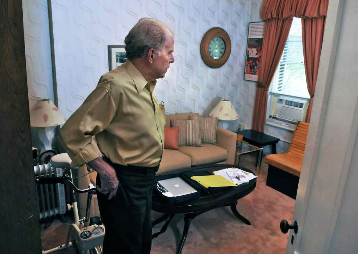 Author William Kennedy in the bedroom where Legs Diamond was murdered at Kennedy's Albany townhouse Wednesday Sept. 14, 2011. (John Carl D'Annibale / Times Union)