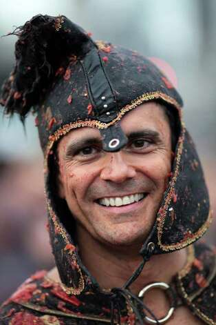 Mauro Costa, dressed up as a warrior from ages past, poses for a portrait. Photo: JORDAN STEAD / FOR SEATTLEPI.COM