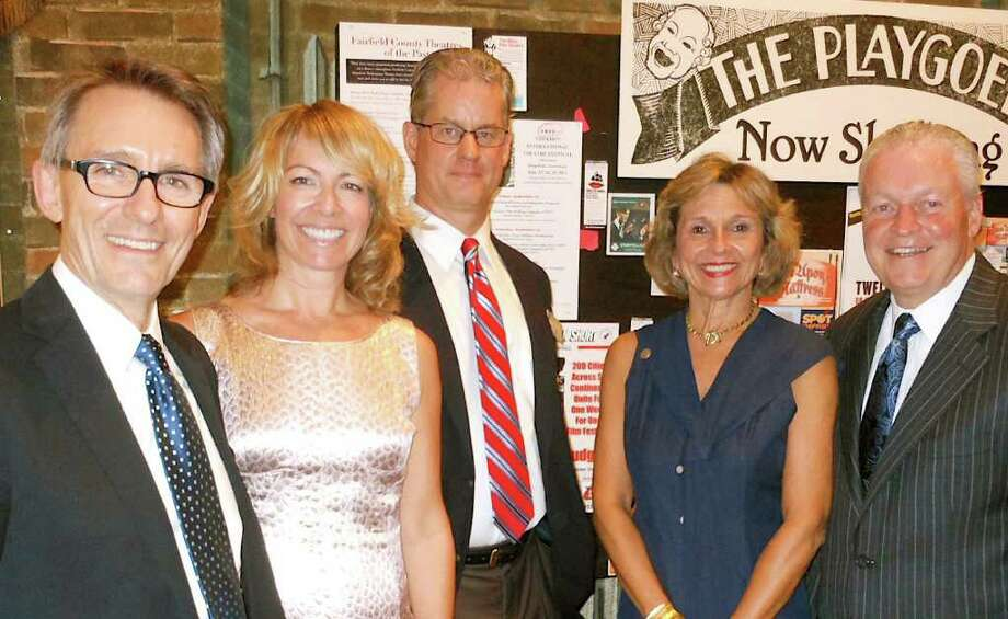 "Westport Country Playhouse Artistic Director Mark Lamos, frim left, with Fairfield Arts Center's Kristin Fox, Fairfield Museum Executive Director Mike Jehle, Sheryl Shaugnessy and interim Fairfield First Selectman Michael Tetreau at party marking opening of ìBravo: A Century of Theatre in Fairfield County"" at Fairfield Museum and History Center. Photo: Mike Lauterborn / Fairfield Citizen contributed"