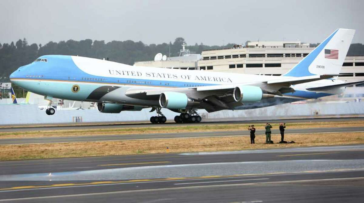 Air Force One touches down at Boeing Field in Seattle.