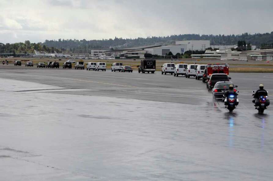 The presidential motorcade leaves Boeing Field.