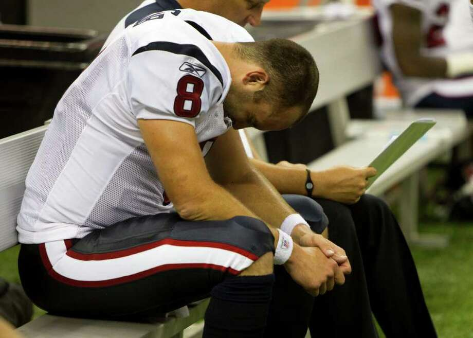 Houston Texans quarterback Matt Schaub sits on the bench after the Texans gave up the ball to the Saints on downs during the fourth quarter of an NFL football game at the Louisiana Superdome Sunday, Sept. 25, 2011, New Orleans. The Saints beat the Texans 40-33. Photo: Brett Coomer, Houston Chronicle / © 2011 Houston Chronicle