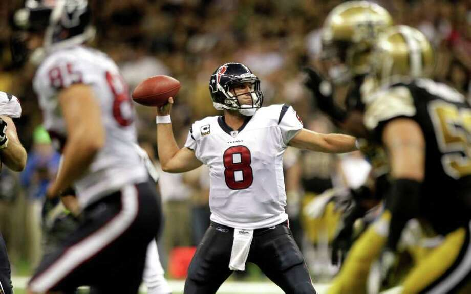 Houston Texans quarterback Matt Schaub (8) throws a pass against the New Orleans Saints during the third quarter of an NFL football game at the Louisiana Superdome Sunday, Sept. 25, 2011, New Orleans. Photo: Brett Coomer, Houston Chronicle / © 2011 Houston Chronicle
