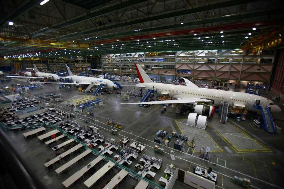 Boeing's 787 assembly line is shown with planes for, from right, Air India, United Airlines, and Ethiopian Airlines on Sunday, September 25, 2011 in Everett, Wash. Photo: JOSHUA TRUJILLO / SEATTLEPI.COM