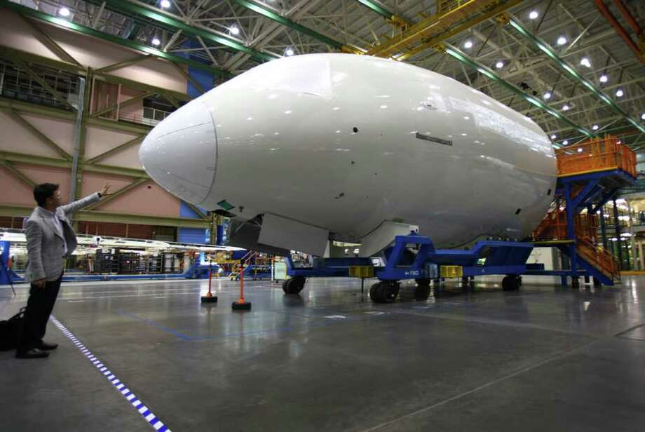 A section of a 787 is shown during a tour of the 787 line at the Boeing assembly plant in Everett. Photo: JOSHUA TRUJILLO / SEATTLEPI.COM