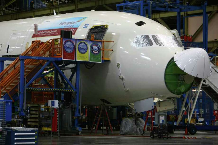 A 787 destined for Ethiopian Airlines is shown during a 787 tour at the Boeing assembly plant in Everett. Photo: JOSHUA TRUJILLO / SEATTLEPI.COM