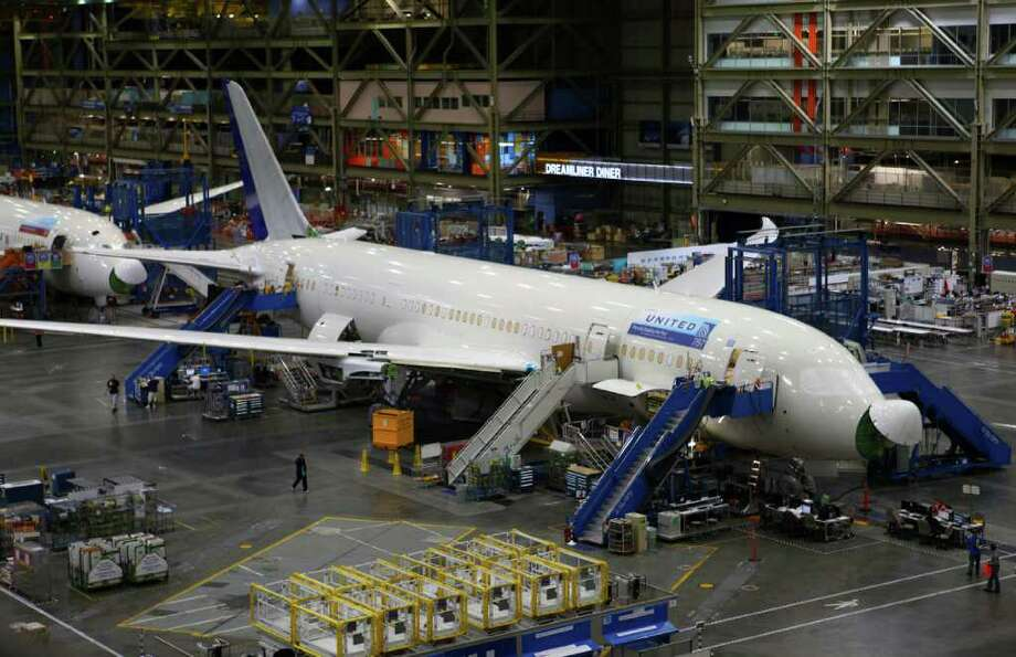 The first 787 for a U.S. customer is shown during a 787 tour at the Boeing assembly plant in Everett. The plane is being built for United Airlines. Photo: JOSHUA TRUJILLO / SEATTLEPI.COM