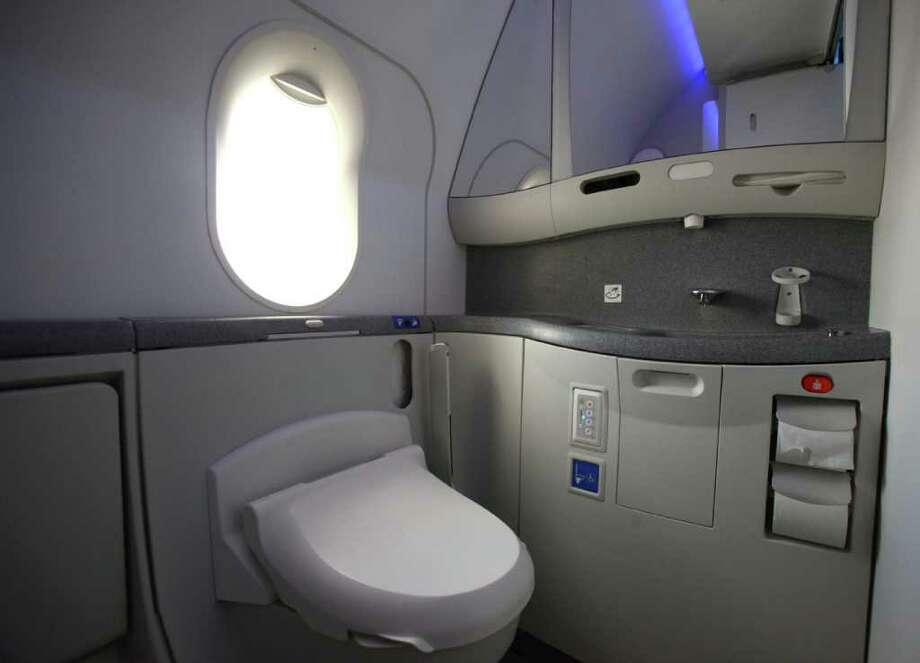 The lavatory is shown, complete with a window, in the second 787 destined for launch customer ANA during a 787 tour at the Boeing assembly plant in Everett. Photo: JOSHUA TRUJILLO / SEATTLEPI.COM