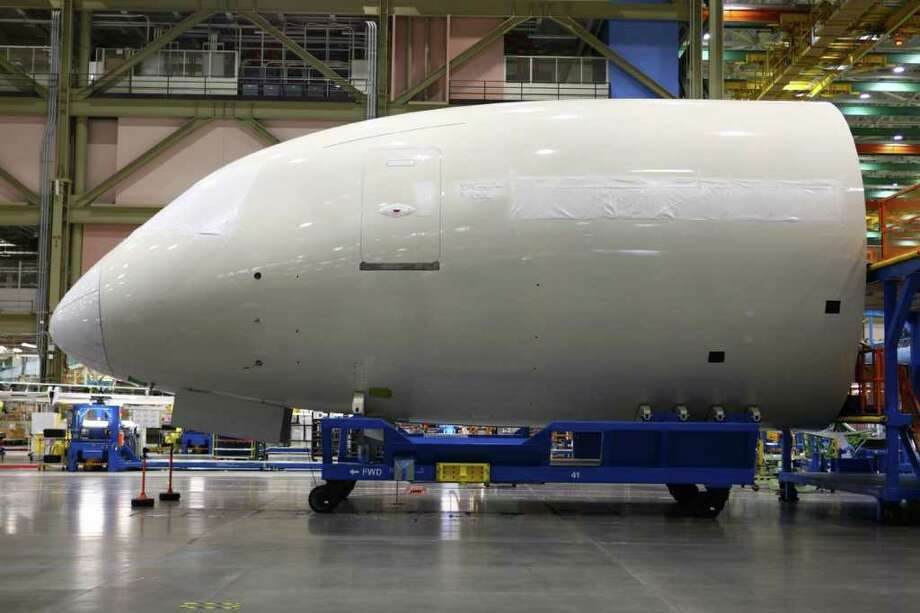 A section of fuselage is shown during a tour of the 787 assembly line at the Boeing plant in Everett. Photo: JOSHUA TRUJILLO / SEATTLEPI.COM