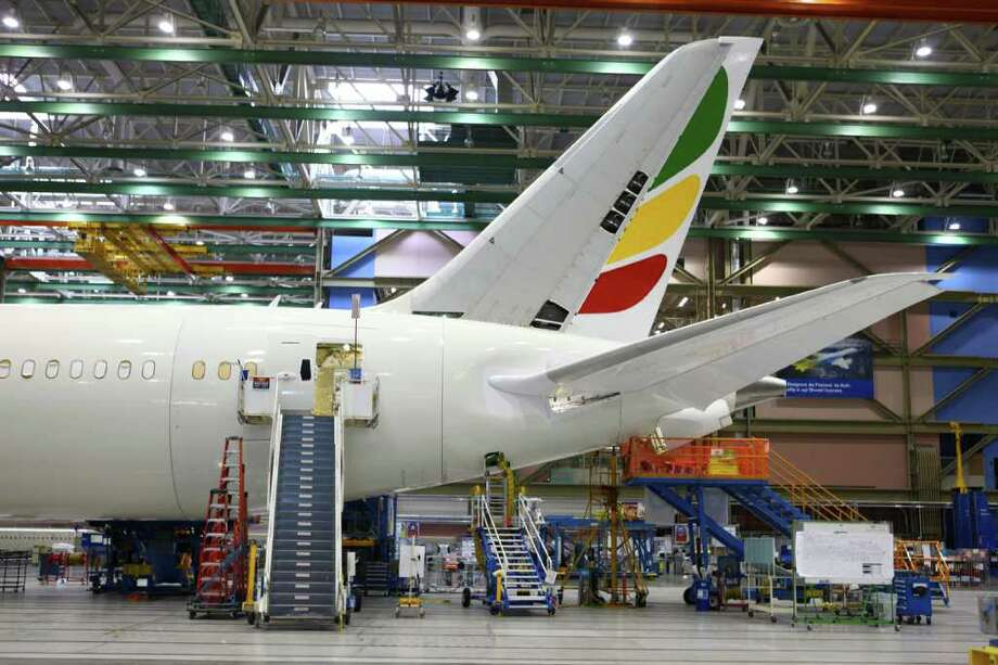 A 787 being built for Ethiopian Airlines is shown during a tour at the Boeing assembly plant in Everett. Photo: JOSHUA TRUJILLO / SEATTLEPI.COM