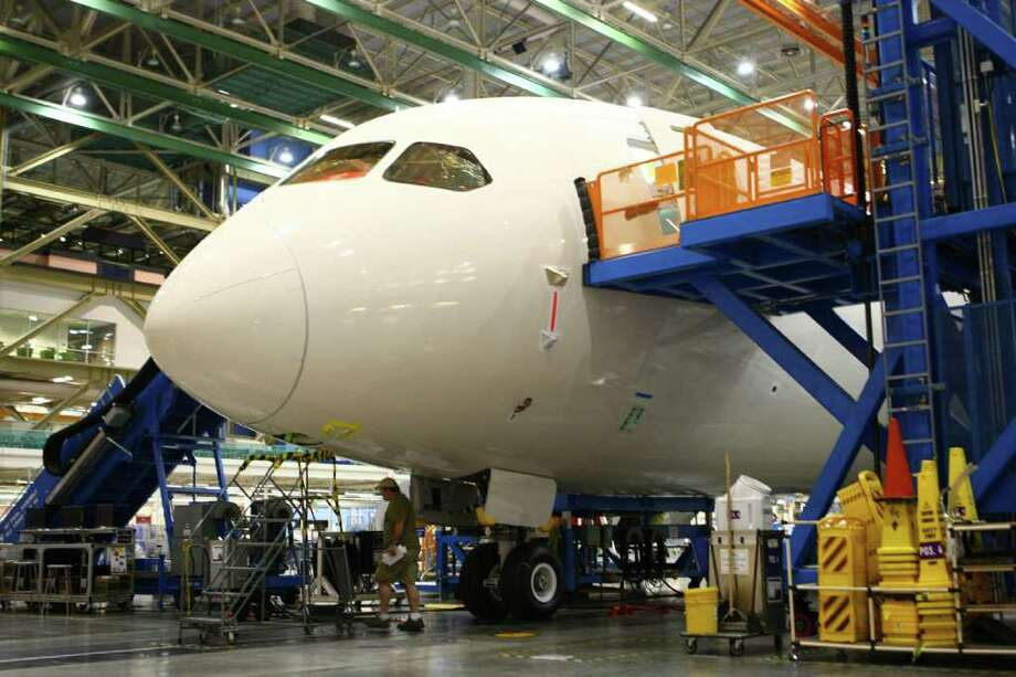 A 787 being built for Air India is shown during a tour at the Boeing assembly plant in Everett. Photo: JOSHUA TRUJILLO / SEATTLEPI.COM