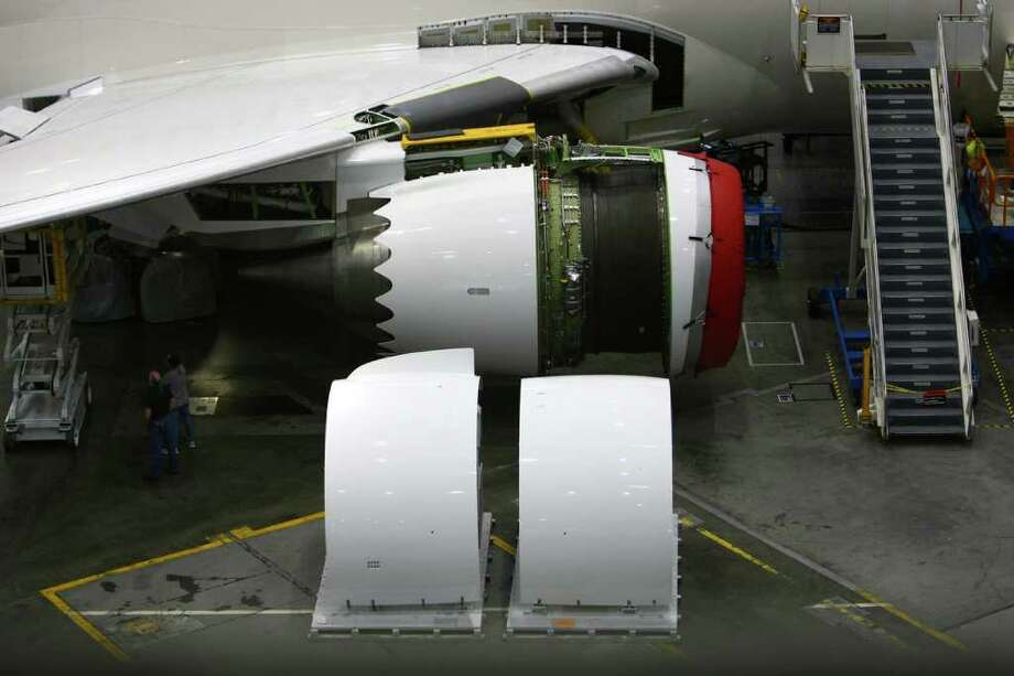 A GenEX engine is shown on a 787 being built for Air India. Photo: JOSHUA TRUJILLO / SEATTLEPI.COM