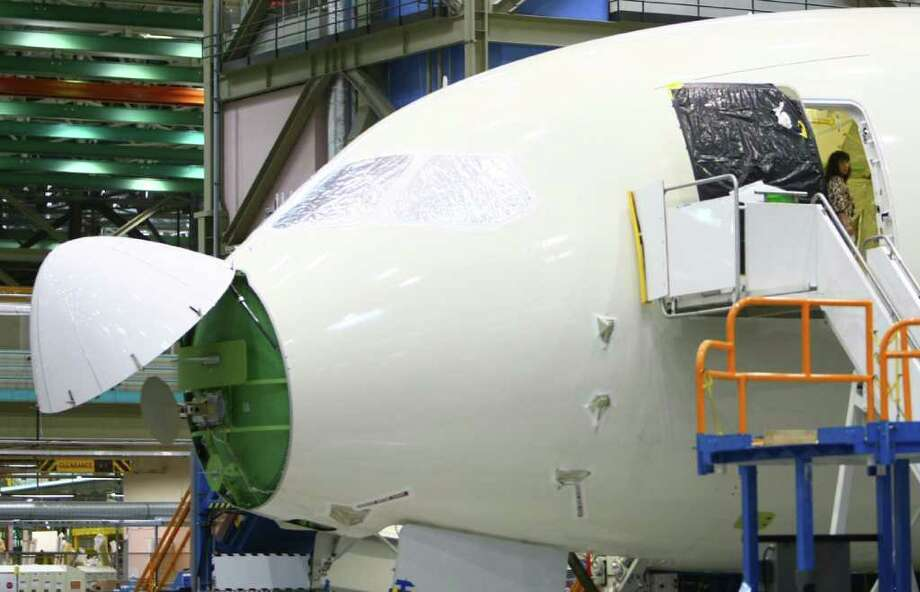 A 787 is shown during a tour of the 787 line at the Boeing plant in Everett. Photo: JOSHUA TRUJILLO / SEATTLEPI.COM