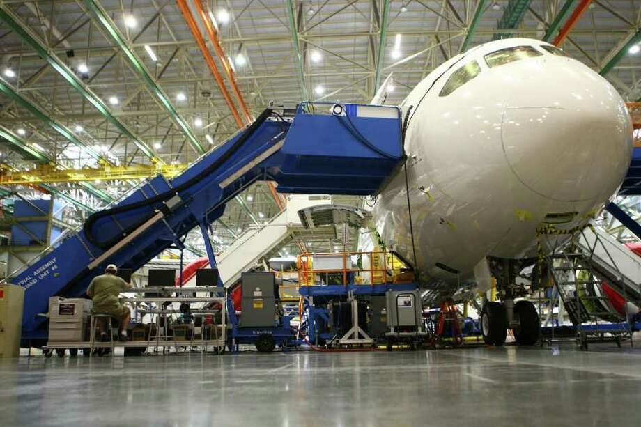 A 787 being built for Air India is shown during a tour at the Boeing plant in Everett. Photo: JOSHUA TRUJILLO / SEATTLEPI.COM