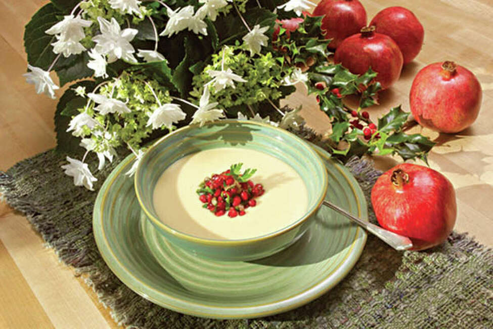 White Bean Soup with Pomegranate Salsa. See the recipe below. (Photo courtesy of the Pomegranate Council.)