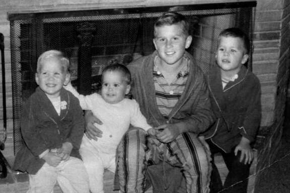 The sons of former President George H.W. Bush from left to right, Neal, Marvin, George, and Jeb are shown at their Midland home about 1958.
