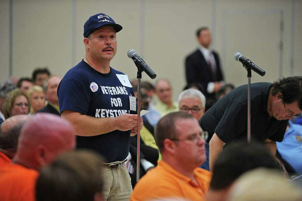 """Bobby Petty, with the """"Veterans for Keystone XL,"""" speaks in support of the proposed 1,700 mile pipeline that would connect Canadian tar sands to Port Arthur refineries on Monday, Sept. 26, 2011 during a State Department public hearing in Port Arthur. Guiseppe Barranco/The Enterprise"""